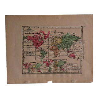 "Antique 1867 Geography Map ""The World - Animal Kingdom"" by Sheldon & Company For Sale"