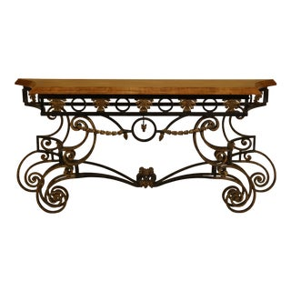 Wrought Iron Base Console Table with Maple Top For Sale