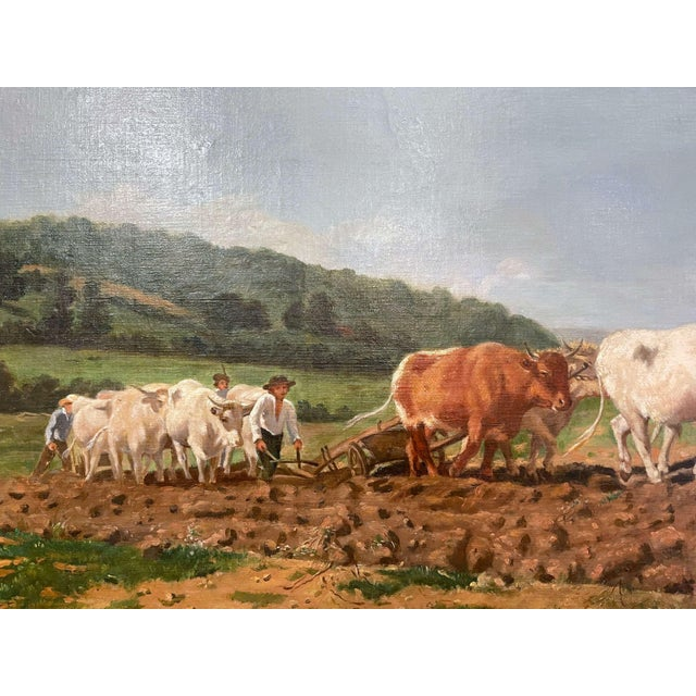 """Mid-19th Century French Oil on Canvas Cows Painting """"Plowing in Nivernais"""" For Sale - Image 4 of 13"""