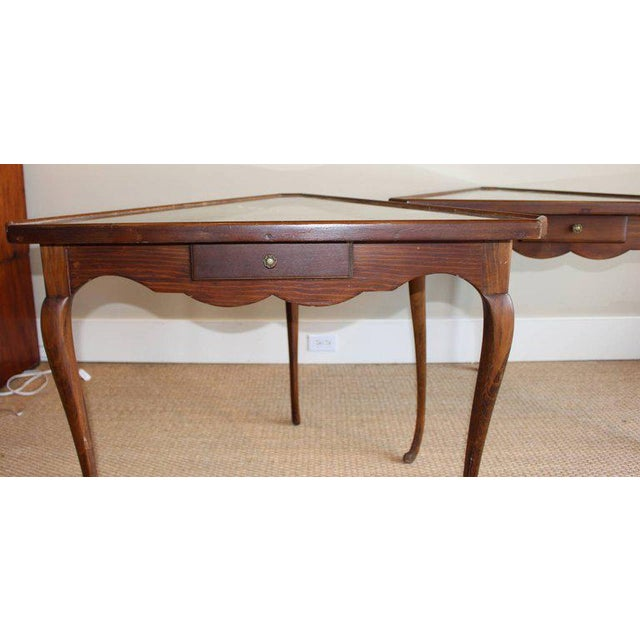 Italian Pair of Mirror Topped Triangular Tables For Sale - Image 3 of 11