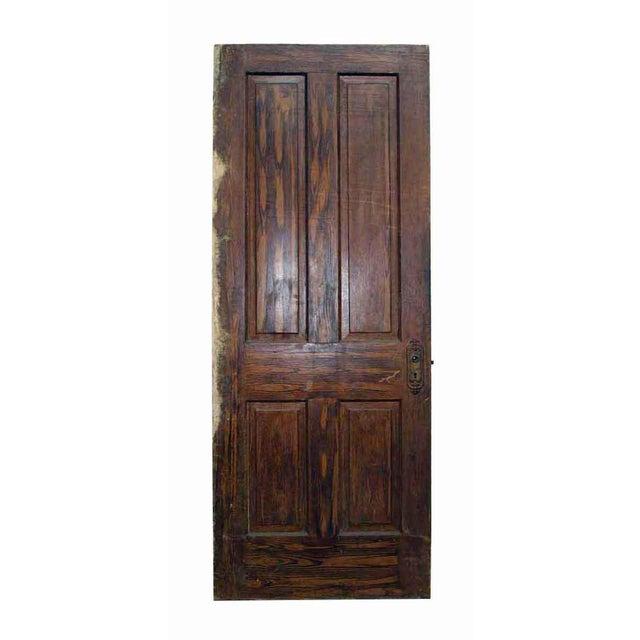 Antique Salvaged 4 Panel Wooden Door   Chairish