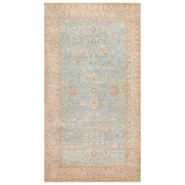 Large Antique Sky Blue Persian Kerman Carpet For Sale - Image 11 of 11