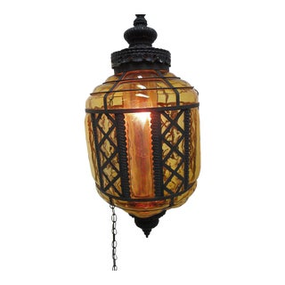 Vintage Hand Blown Hollywood Hanging Lamp Chandelier Light Regency