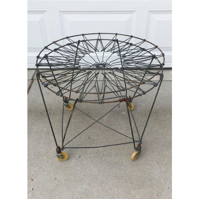 Black Vintage Industrial Collapsible Wire Laundry Basket on Casters For Sale - Image 8 of 13