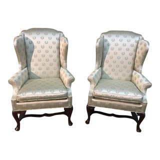 Late 20th Century Vintage Kindel Furniture Wingback Chairs - a Pair For Sale