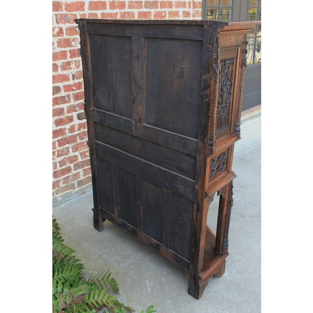 Antique French Gothic Vestry Sacristy Cabinet Oak 19th Century For Sale - Image 12 of 13