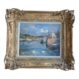 """Early 20th Century """"Coniarveau"""" French Impressionist Oil Painting, Framed For Sale"""