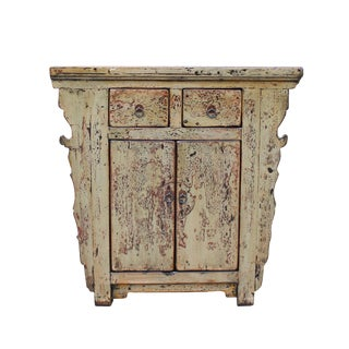 Distressed Light Mustard Green Lacquer Mid Size Credenza Table Cabinet For Sale