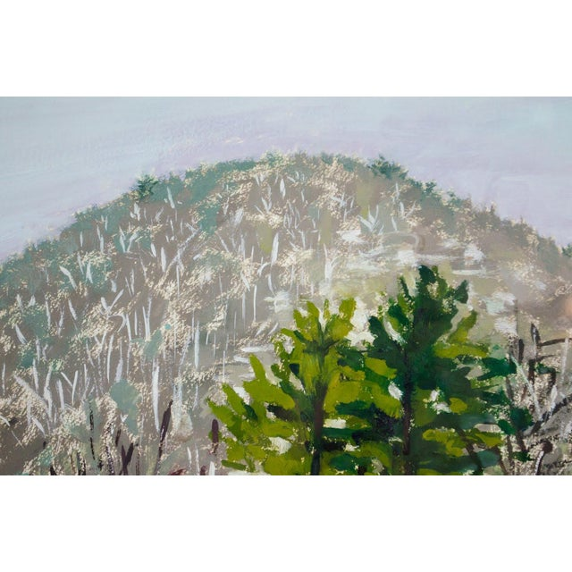 Contemporary Modern Impressionist Watercolor Mountain Landscape For Sale - Image 3 of 11