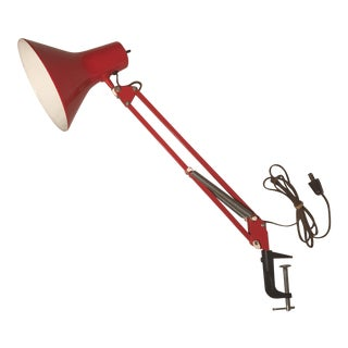 Fase Adjustable Red Metal Clip on Lamp For Sale