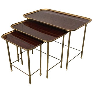 19th Century Nesting Tables in Brass and Mahogany, France - Set of 3 For Sale