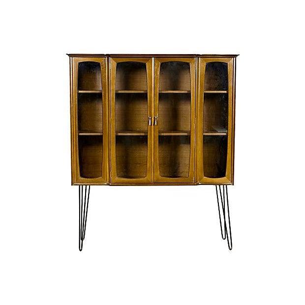 Dark Walnut China Closet with Hairpin Legs - Image 1 of 4