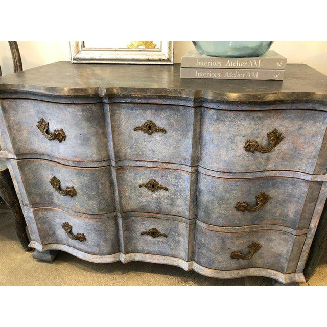 Late 18th Century Swedish Baroque Chest With Faux Marble-Top and Serpentine Drawers For Sale In Los Angeles - Image 6 of 7