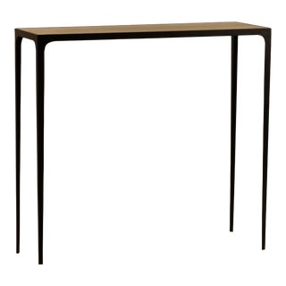 Wide 'Esquisse' Natural Parchment and Wrought Iron Console by Design Frères For Sale