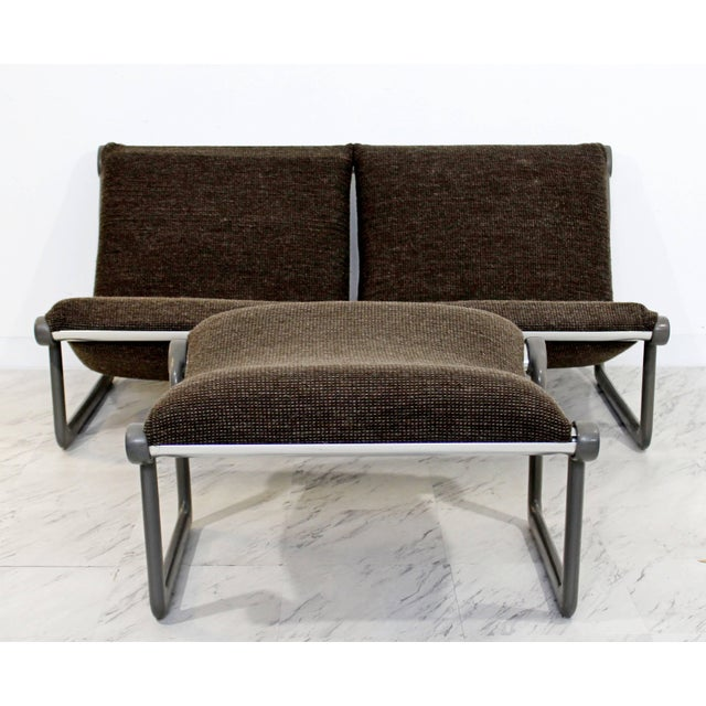 For your consideration is a sleek, gray, sling sofa and ottoman that were designed by Hannah Morrison for Knoll, circa the...