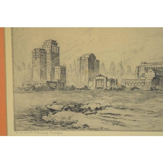 Illustration 1950's William Kent Hagerman Chicago Lakefront Skyline Speedboat Etching Print For Sale - Image 3 of 10