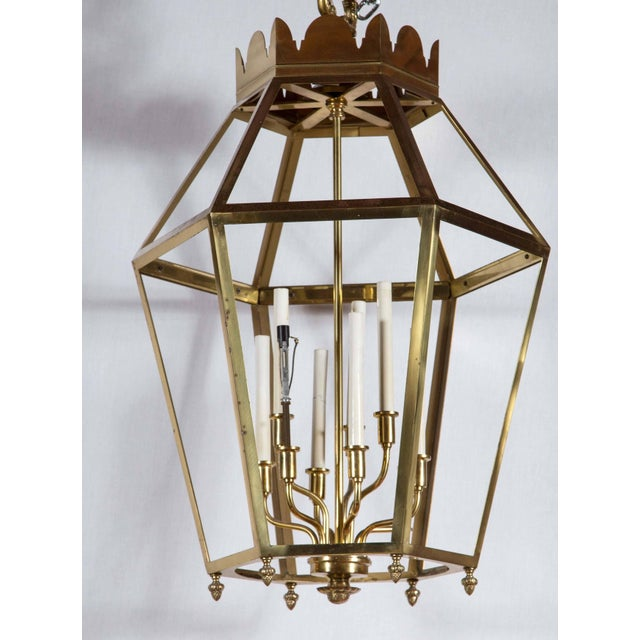 Large striking brass lantern. Nine lights inside.