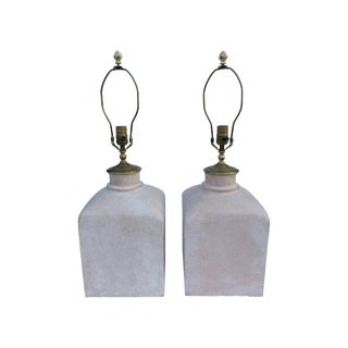Vintage Stiffel Style Sun-Bleached Pink Table Lamps - a Pair For Sale