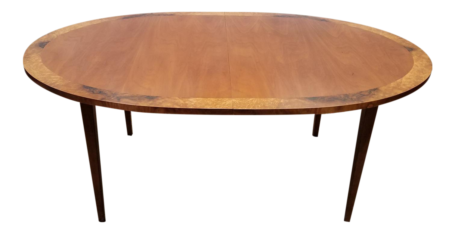 Restored 1970s Vintage Directional Contract Furniture Contemporary Banded  Elm Dining Table U0026 3 Leaves