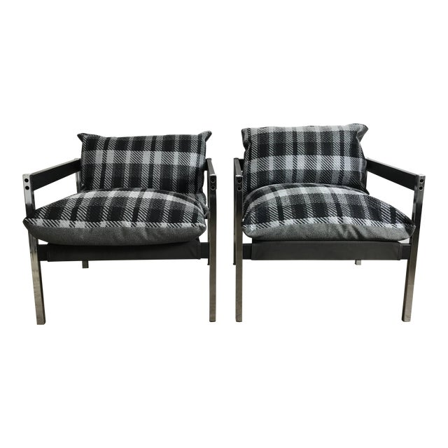 Classic 1970s Bauhaus Style Chrome and Wood Sling Chairs - A Pair For Sale