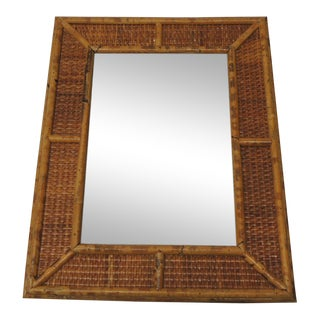 Vintage Bamboo Wall Mirror For Sale