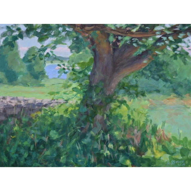 "Paint Contemporary ""Old Tree at AllensPond"" Plein Air Painting by Stephen Remick For Sale - Image 7 of 7"