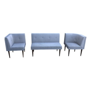 Modern Grey Banquette Sofa Bench- 3 Pieces For Sale