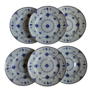 Johnson Brothers Blue and White Blue Dinner Plates, Denmark - Set of 6 For Sale
