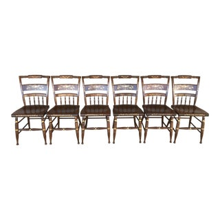Nichols & Stone Paint Decorated Hitchcock Style Maple Side Chairs - Set of 6 For Sale
