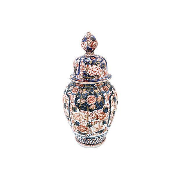Antique Japanese imari ginger jar. No maker's mark. Made during the Meiji period, circa 1880. Light wear, minor edge wear.