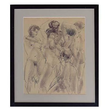 Vintage Drawing of Nudes by Paul Silverthorne For Sale