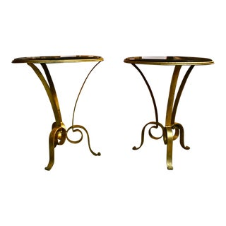 French Deco Style Wrought Iron and Granite Cocktail Side Tables - a Pair For Sale