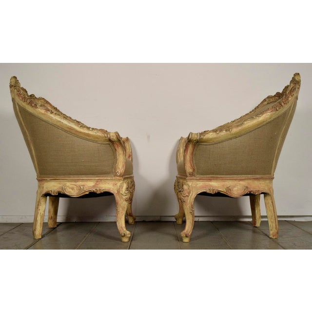 Vintage French Louis XV Style Carved Bergeres - a Pair - Image 3 of 11