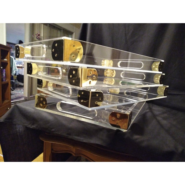 1970's Jonathan Adler Minimalist Lucite Trays For Sale - Image 10 of 10