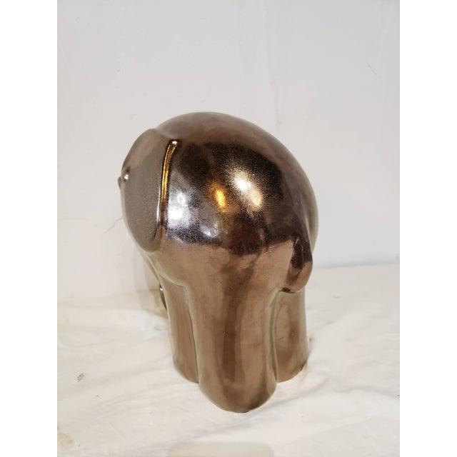 1990s Ceramic Copper Glazed Elephant For Sale - Image 4 of 6