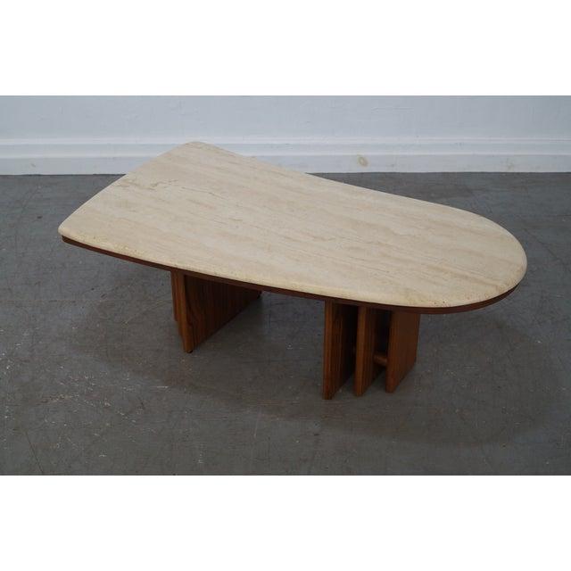Danish Teak Base Travertine Top Coffee Table - Image 7 of 9