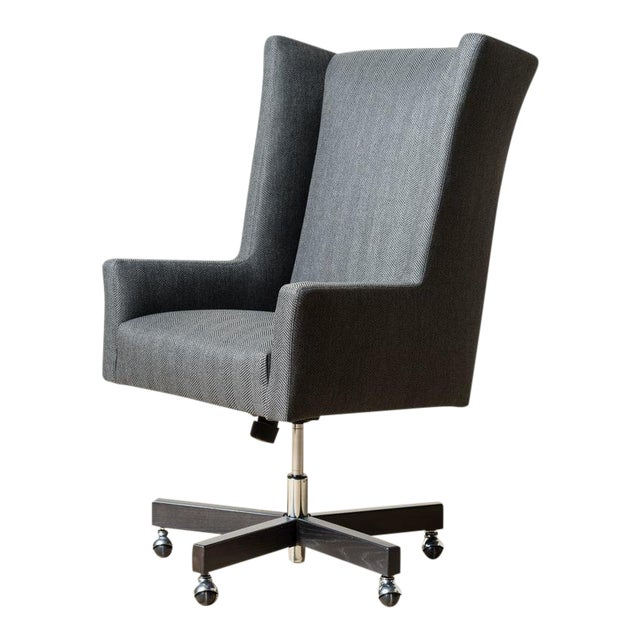 Mid-Century Modern Sydney Black Fabric Office Chair For Sale