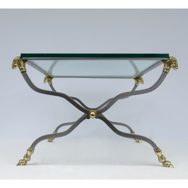 Metal C.1960s-70s Hollywood Regency Italian Brass, Steel and Glass X-Frame, Side Table, Attr. To Maison Jansen For Sale - Image 7 of 13