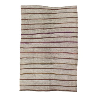 1960s Turkish Striped Kilim Rug For Sale