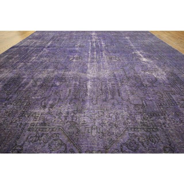 """Purple Overdyed Wool Rug - 9' 7"""" x 12' 9"""" - Image 6 of 10"""