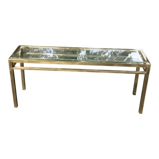 20th Century Hollywood Regency Brass and Glass Top Console Table For Sale