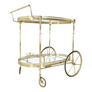 Large Wheels Brass and Glass Tea Cart Bar with Bottle Holders