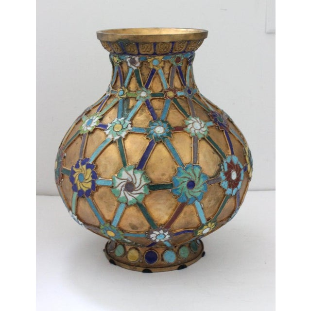 Chinese Antique 1920s Chinese Cloisonné Vase in Brass With Crossbanding and Floral Medallions For Sale - Image 3 of 13