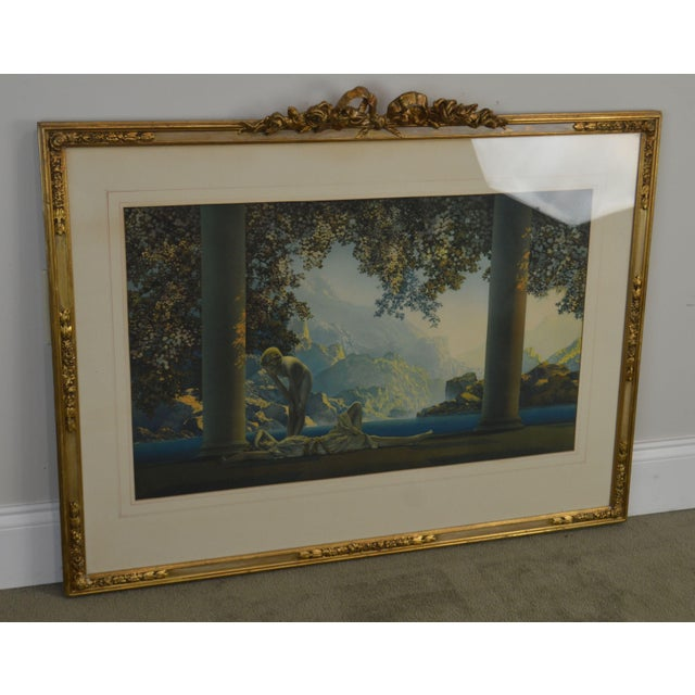 "High Quality Vintage Print of Famous Maxfield Parrish Painting ""Daybreak"" in Vintage Gilt Frame"