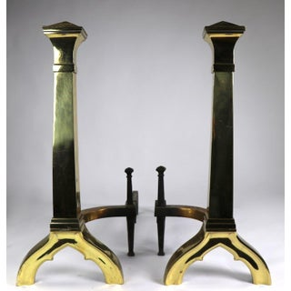Pair of Gothic Revival Brass Andirons Firedogs in the Style of Augustus Pugin Preview