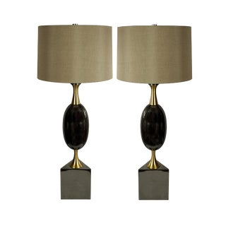 Art Deco Modern History Calder Buffet Table Lamp with Taupe Silk Shades - a Pair For Sale