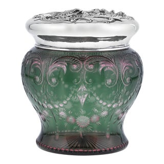 American Cut Glass and Silver Tobacco Jar For Sale