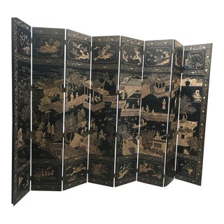 Late 20th Century Vintage Chinoiserie Large Screen Room Divider For Sale