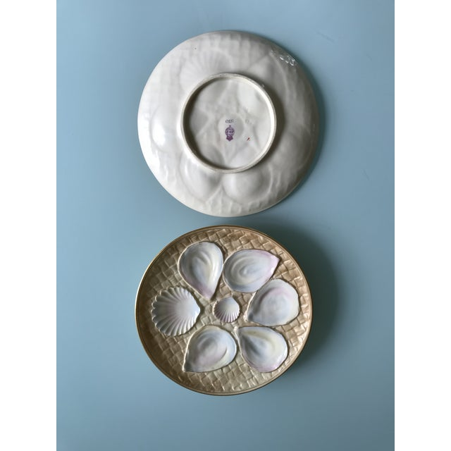 Art Nouveau 19th Century Royal Worcester Oyster Plates - a Pair For Sale - Image 3 of 5