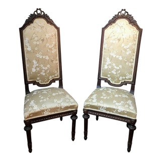Early 20th Century Vintage Tall Back Carved Wooden Chairs - a Pair For Sale